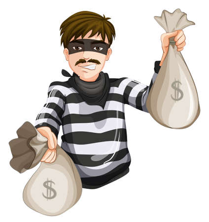 Illustration of a robber with two sacks of cash on a white background Vector