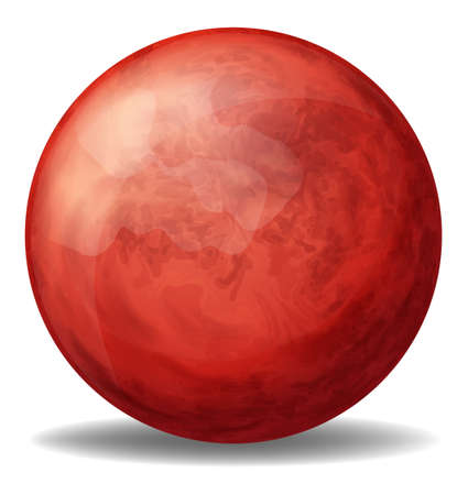 bounces: Illustration of a red round ball on a white background