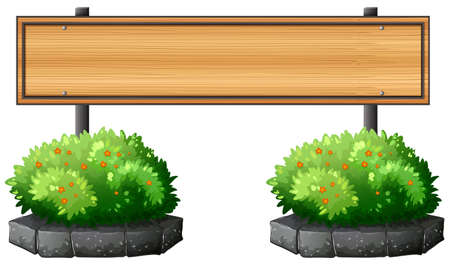 Illustration of an empty signboard above the plants on a white background Vector