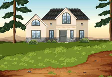 detached house:  Illustration of a big concrete single detached house Illustration