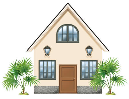 detached house: Illustration of a simple house on a white background