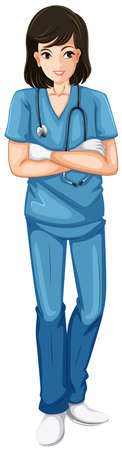 nursing uniforms: Illustration of a nurse holding a stethoscope on a white background