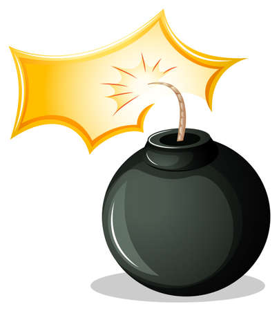 penetration: Illustration of a round explosive bomb on a white background