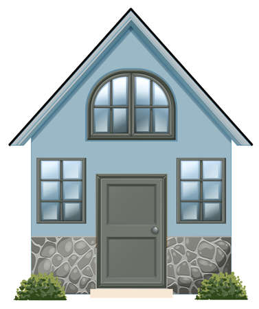 detached: Illustration of a simple single detached house on a white background Illustration