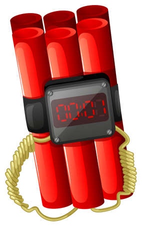 warheads: Illustration of a bomb with a timer on a white background Illustration