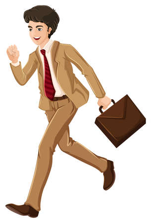 Illustration of a businessman walking hurriedly with an attache case on a white background