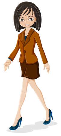 女性実業家: 白い背景の上を歩いて、ビジネスの女性のイラスト