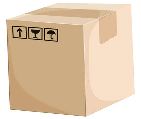 brown box: Illustration of a box on a white background