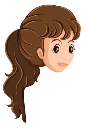 wavy hair: Illustration of a head of a girl on a white background