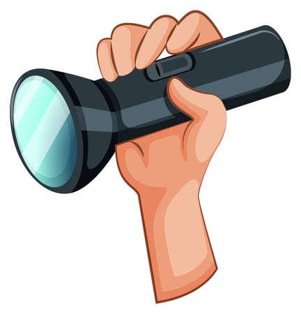 taschenlampe: Illustration einer Hand mit einer Taschenlampe auf wei�em Hintergrund