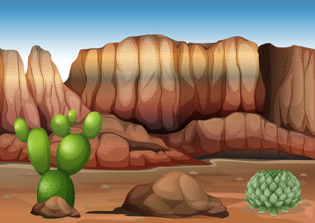 droughts: Illustration of a desert with cacti