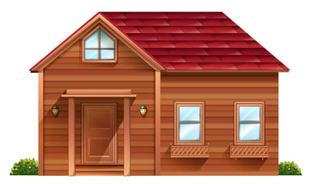 Illustration of a wooden house on a white background Vector