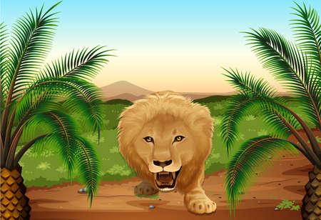 carnivora: Illustration of a lion at the jungle