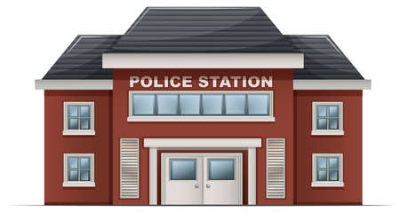 architecture and buildings: Illustration of a police station building on a white background Illustration