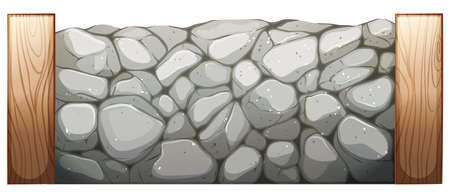 barrier: Illustration of a stone wall on a white background Illustration