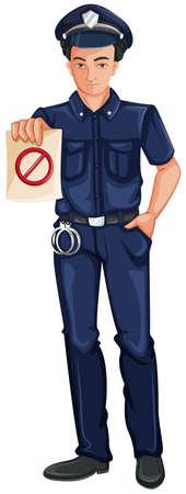 enforcer: Illustration of a police officer on a white background Illustration
