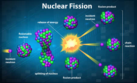 isotopes: Illustration showing a nuclear fission