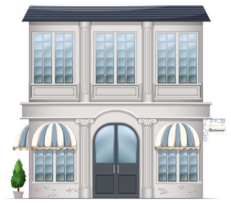 occupancy: Illustration of a restaurant building on a white background