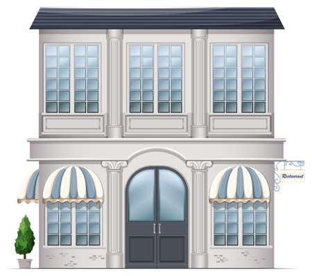 establishments: Illustration of a restaurant building on a white background