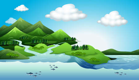 organisms: Illustration of the land and water resources Illustration