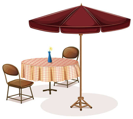outdoor dining: Illustration of a table with an umbrella in a cafe on a white background