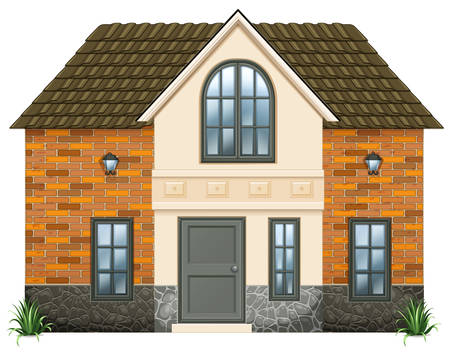 detached house: Illustration of a big house on a white background Illustration