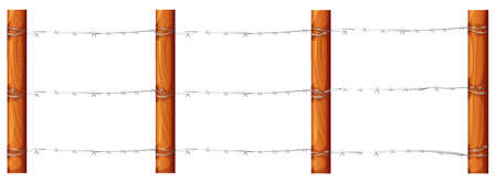barbwire: Illustration of a wooden fence with barbwires on a white background Illustration
