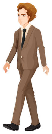 serious business: Illustration of a serious business person walking on a white background