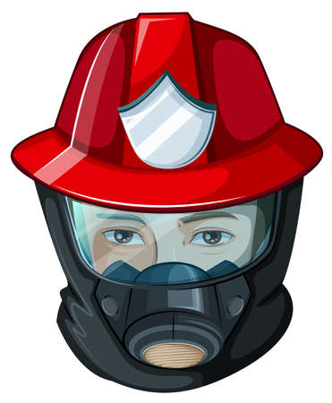 Illustration of a head of a fireman on a white background Stock Vector - 23978010