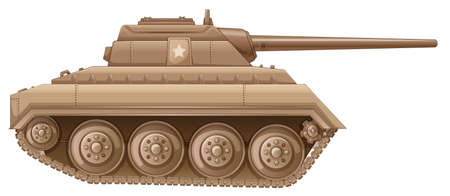 frontline: Illustration of a brown military tank on a white background