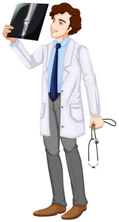 Illustration of a doctor watching an x-ray result on a white background