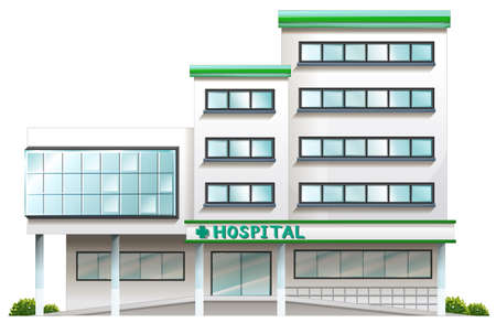 Illustratie van een ziekenhuis dat op een witte achtergrond