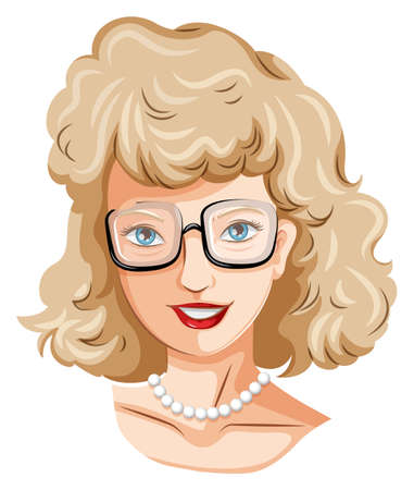 wavy hair: Illustration of a head of a pretty lady with an eyeglass on a white background Illustration