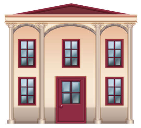detached house: Illustration of a very big house on a white background