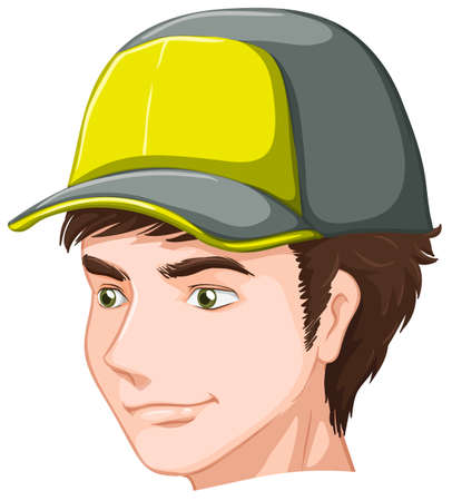 good looking man: Illustration of a boy wearing a cap on a white background