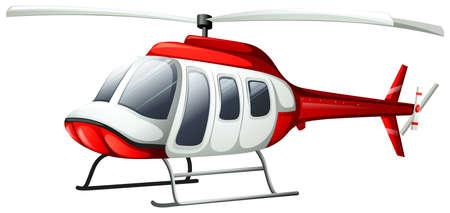 白い背景の上を飛んでヘリコプターのイラスト