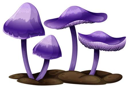 白い背景の上の紫色のキノコの図