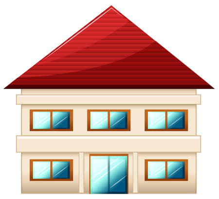 Illustration of a two-story single detached house on a white background Vector