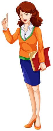 genitore figlio: Illustrazione di un insegnante su uno sfondo bianco Vettoriali