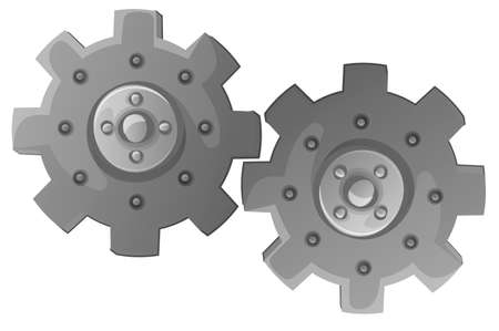 toothed: Illustration of the two cogwheels on a white background
