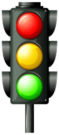 Illustration of the traffic light on a white background Vector