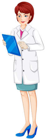 patient chart: Illustration of a nurse holding a chart on a white background