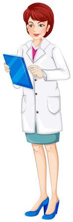 nursing mother: Ilustraci�n de una enfermera de la celebraci�n de una tabla en un fondo blanco
