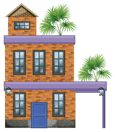 large house: Illustration of a big house with palm plants on a white background