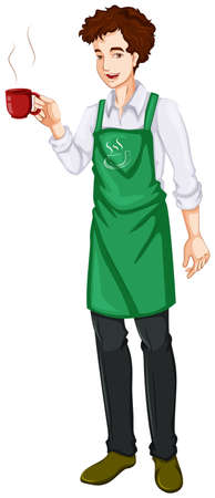 barista: Illustration of a bartender on a white background Illustration