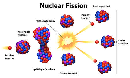 isotopes: Illustration of the nuclear fission on a white background Illustration