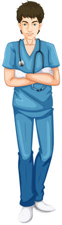 young male doctor: Illustration of a young male doctor on a white background Illustration