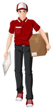 Illustrazione di un uomo di consegna su uno sfondo bianco