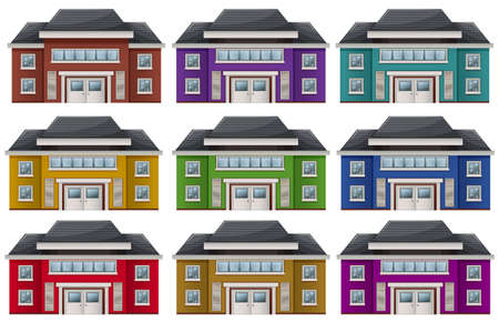 protection plan: Illustration of the colorful houses on a white background Illustration