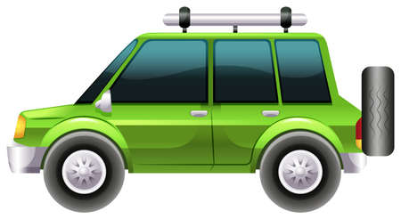Illustration of a green van on a white background